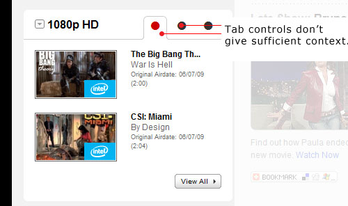 C B S dot com do not use descriptive tab control text making it hard to anticipate what content is.